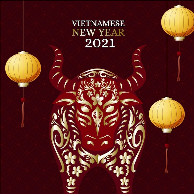 Piatto dettagliato têt capodanno vietnamita Vettore gratuito