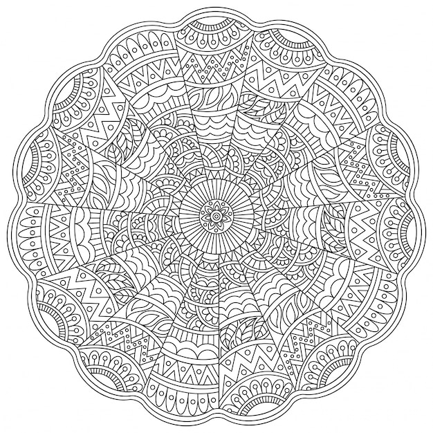 Detailed Floral Mandala design for coloring book, Vintage decorative ornament, Anti-Stress therapy pattern.