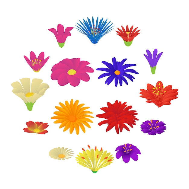 Detailed flowers icons set, cartoon style Premium Vector