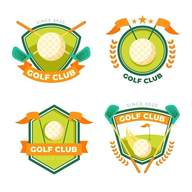 Подробная коллекция логотипов гольфа Бесплатные векторы