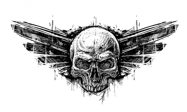 Detailed graphic hand drawn realistic black and white human skull with wings. trash polka style Premium Vector