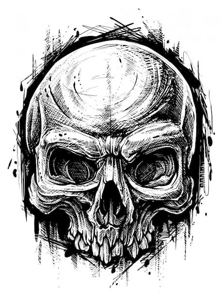 Детальный графический человеческий череп мусор полька линии искусства Premium векторы