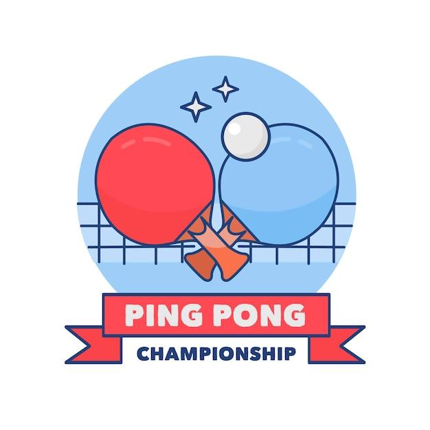 詳細な手描きデザインの卓球ロゴ 無料ベクター