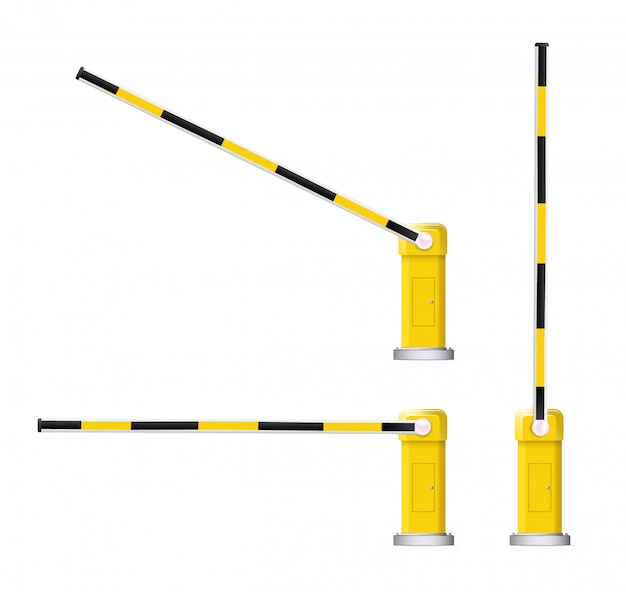 Detailed illustration of a black and yellow striped car barrier with stop sign. Premium Vector