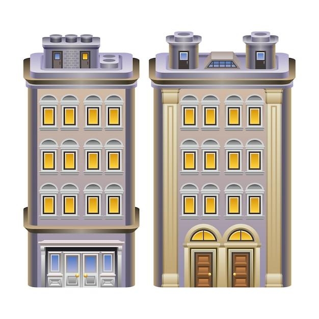 Detailed illustration of buildings. Premium Vector