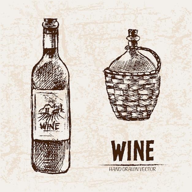 Detailed line art hand drawn wine bottle illustration ...