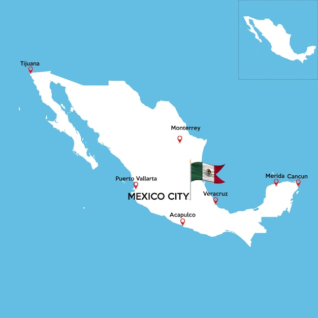 Detailed map of mexico Vector | Premium Download