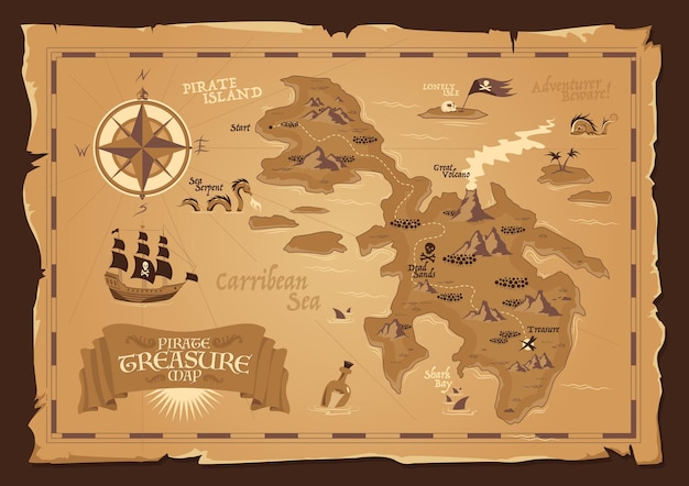 Detailed map of pirate treasure with frayed edges in vintage style flat illustration Premium Vector