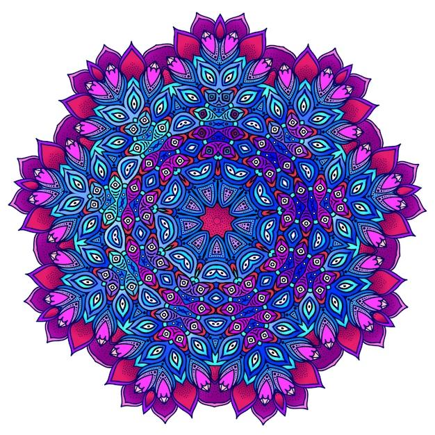 Detailed ornamental mandala in purple and blue. ethnic ornament. Premium Vector