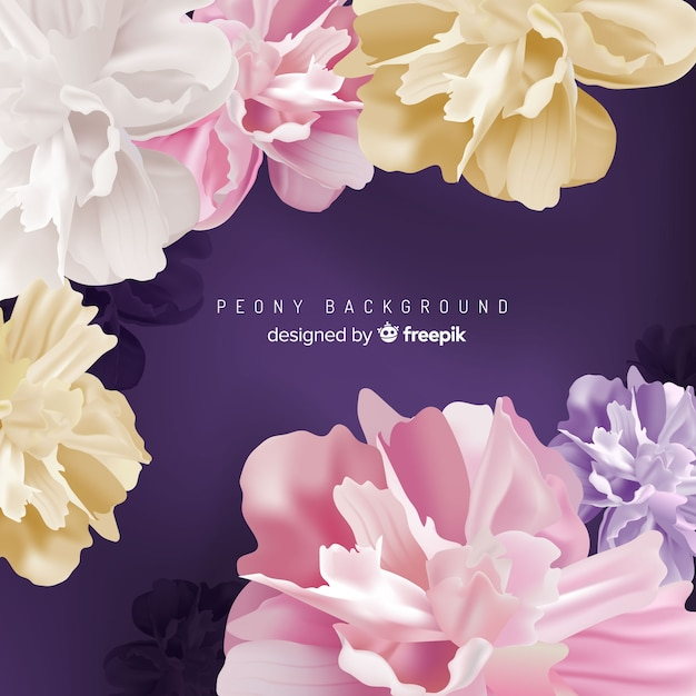 Detailed peony flowers background design Free Vector