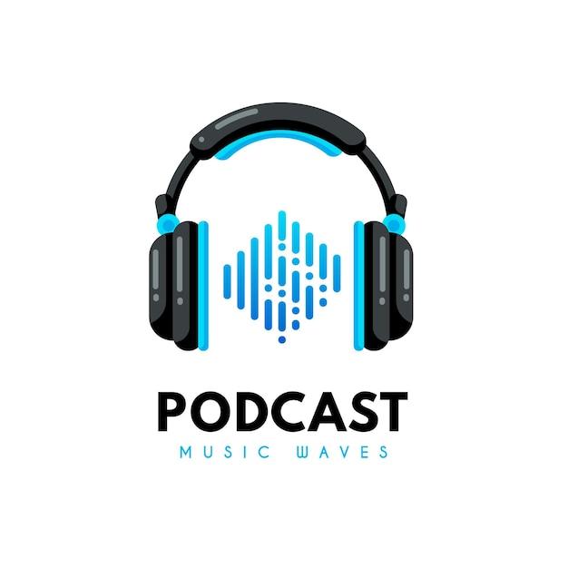 Modello di logo podcast dettagliato con le cuffie Vettore gratuito