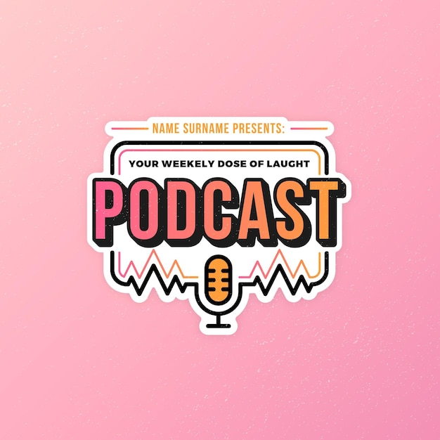 Detailed podcast logo template Free Vector