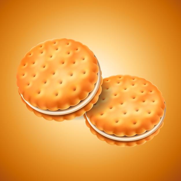 Подробное печенье-сэндвич или сухарики с кремовой начинкой. простота использования в дизайне. еда и сладости, выпечка и кулинария. Premium векторы