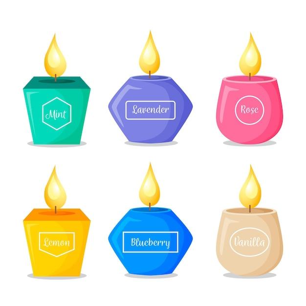Collezione dettagliata di candele profumate Vettore gratuito