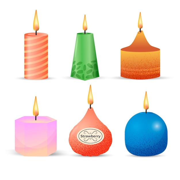 Detailed scented candle collection Free Vector