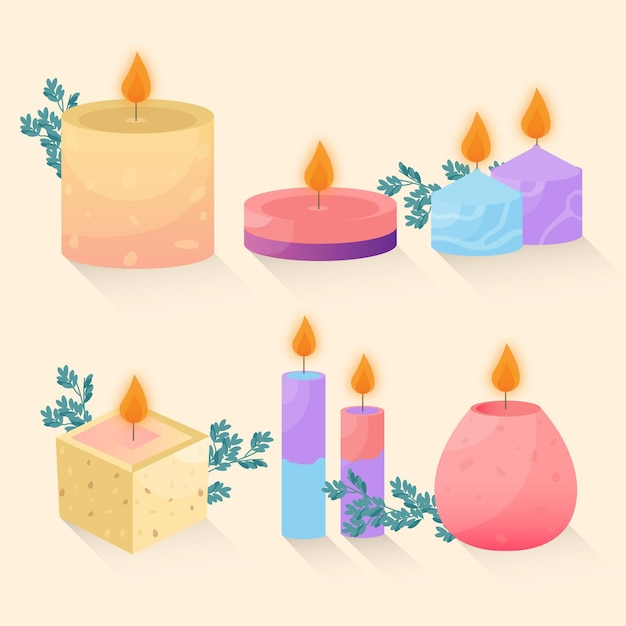 Detailed scented candle collection Premium Vector