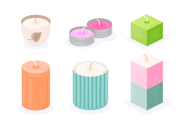 Detailed scented candle pack Free Vector
