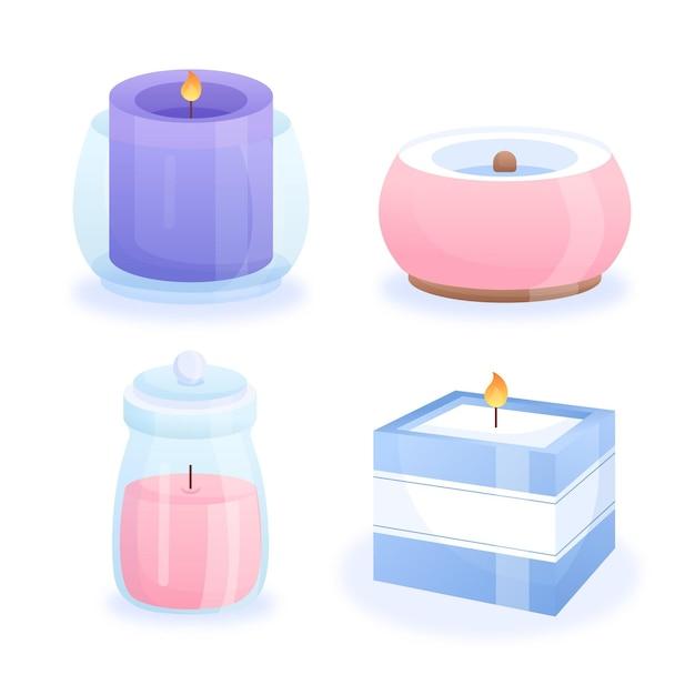 Set di candele profumate dettagliate Vettore gratuito