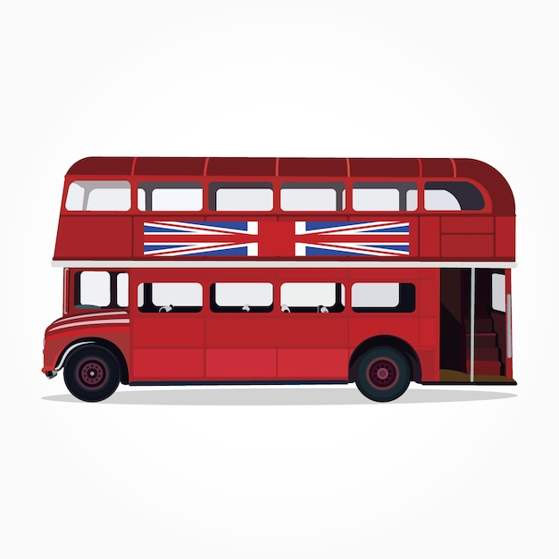 Detailed Side Of A Flat Red City Bus Cartoon With Shadow Effect Premium  Vector