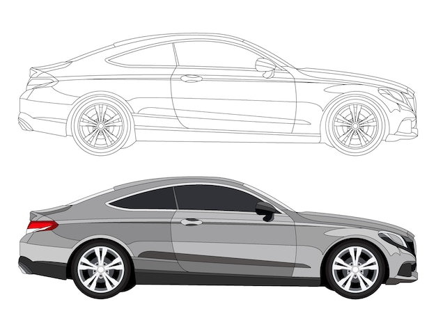 Detailed Side Of Grey Sedan Car With Black Stroke Option For Customable  Color Book Premium Vector