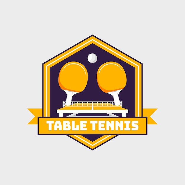 Detailed style table tennis logo Free Vector