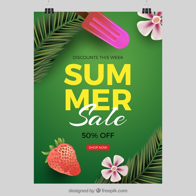 Detailed Summer Sale Cover Template Free Vector