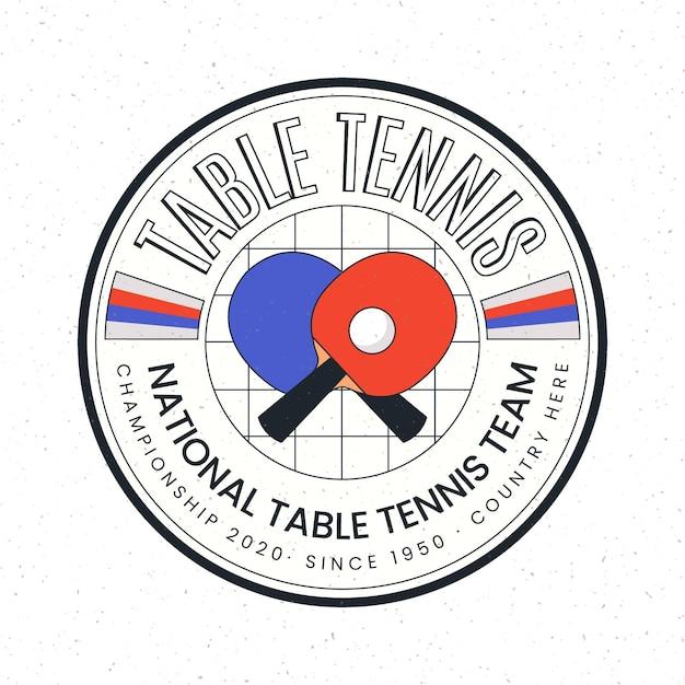Detailed table tennis logo concept Free Vector
