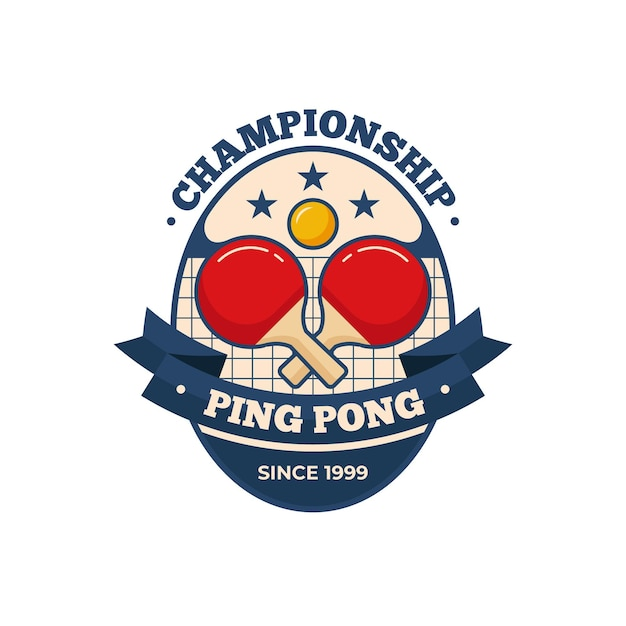 Detailed table tennis logo template Free Vector