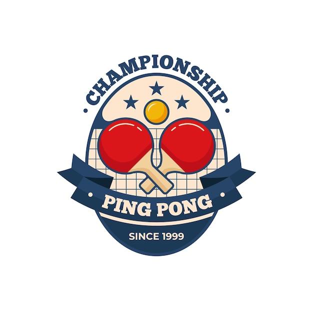 詳細な卓球のロゴのテンプレート 無料ベクター
