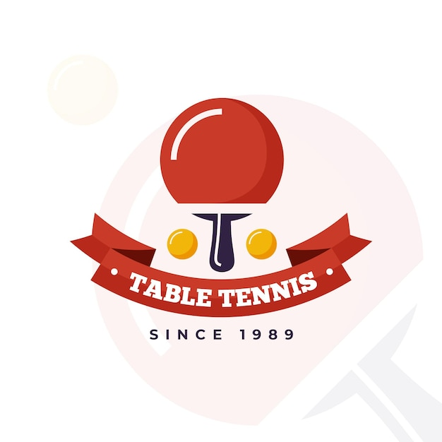 Detailed table tennis logo Free Vector