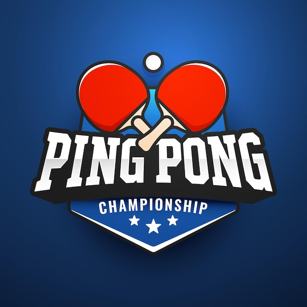 Detailed table tennis logo Premium Vector