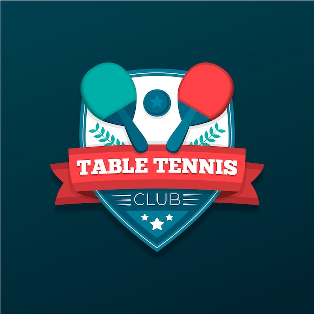 Detailed table tennis logo Free Vector