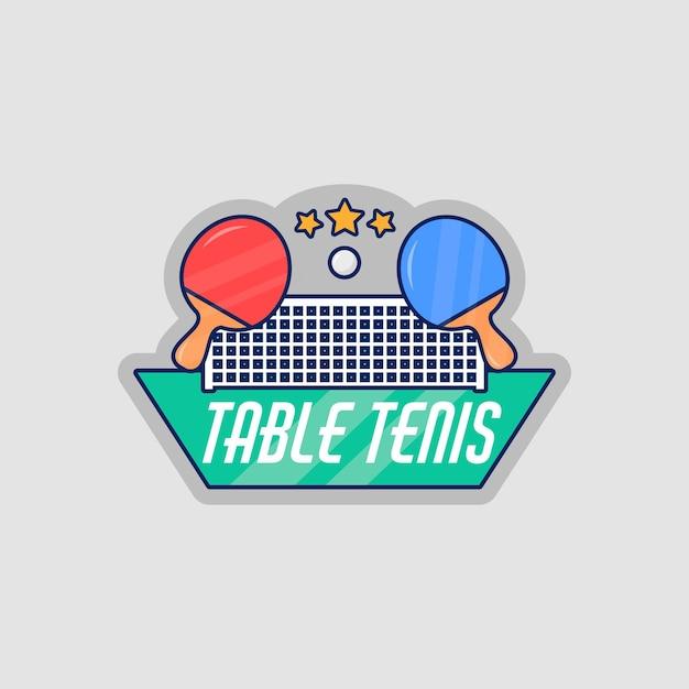 Подробный логотип настольного тенниса Бесплатные векторы