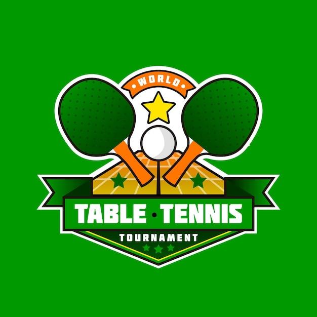 Detailed table tennis logo Premium Vector