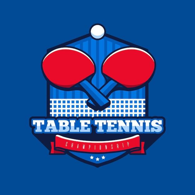 Подробный логотип настольного тенниса Premium векторы