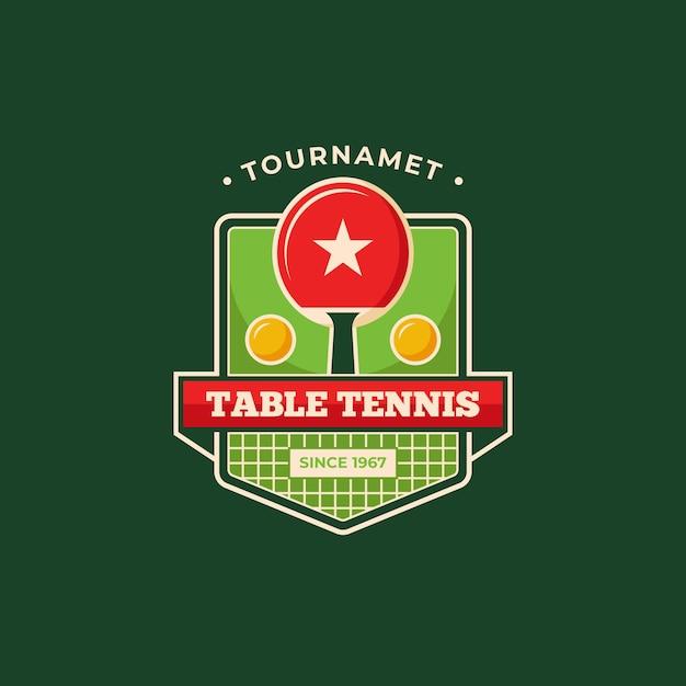 詳細な卓球トーナメントのロゴのテンプレート 無料ベクター