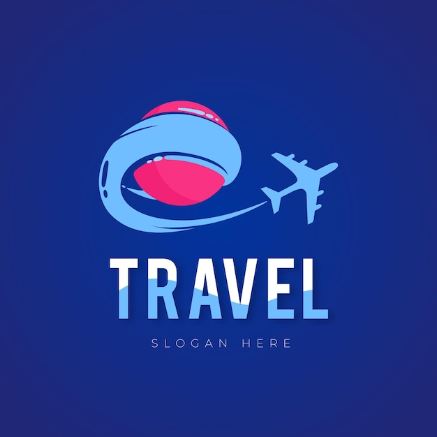 Detailed travel logo with airplane Free Vector