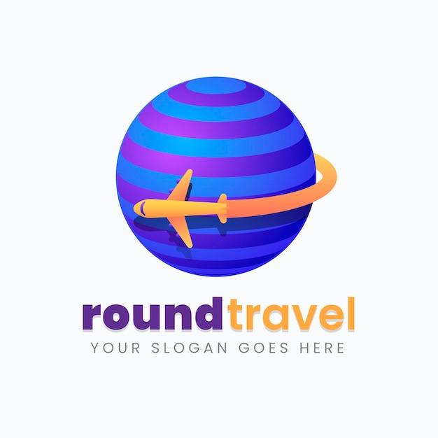 Detailed travel logo Free Vector