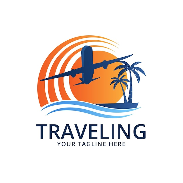 Detailed travel logo Free Vector