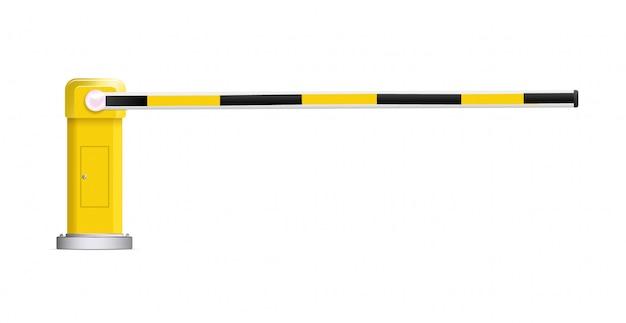 ストップ付きの黒と黄色のストライプの車のバリアの詳細なベクトルイラスト Premiumベクター