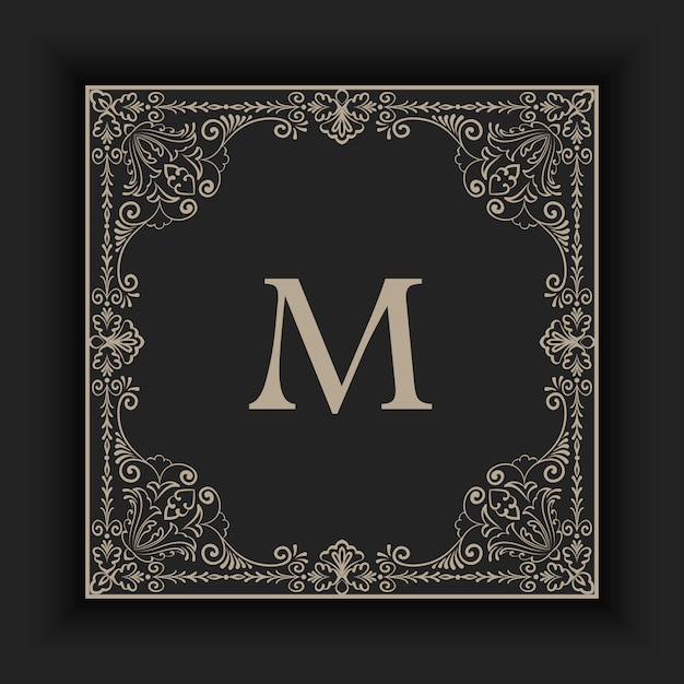 Detailed vintage ornamental frame with initial Free Vector