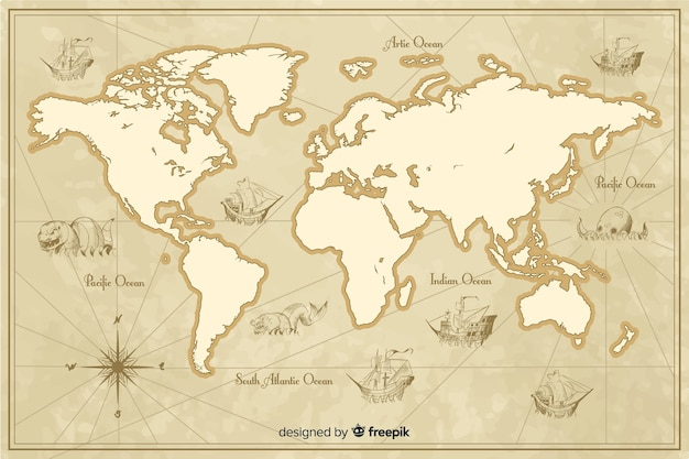 Detailed vintage world map theme Free Vector