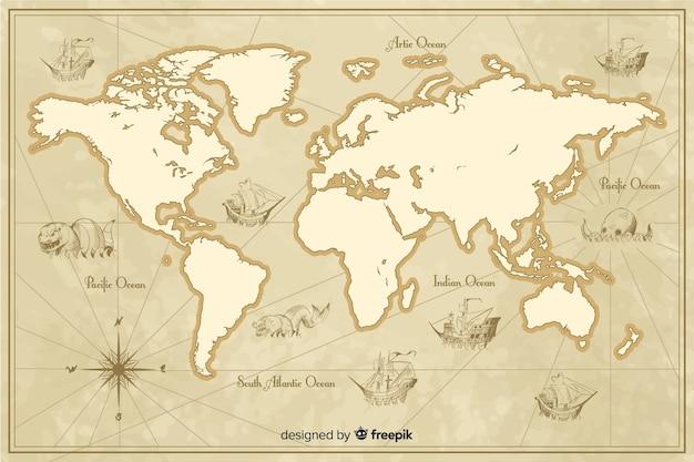 Подробная винтажная тема карты мира Бесплатные векторы