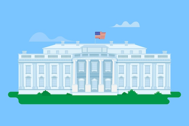 Detailed white house illustration Free Vector