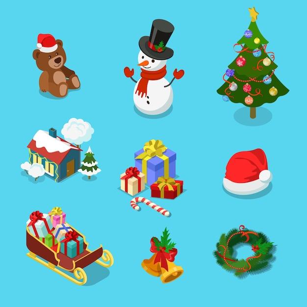테 디 베어 눈사람 가문비 나무 마을 집 선물 모자 썰매 화 환 메리 크리스마스 해피 뉴 평면 아이소 메트릭 개념 웹 인포 그래픽 템플릿의 자세한 겨울 휴가 개체 아이콘 세트 무료 벡터