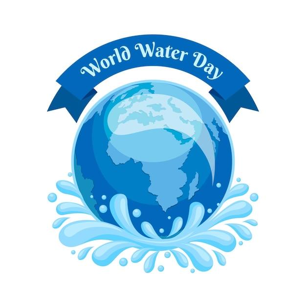 惑星地球との詳細な世界水の日のイラスト 無料ベクター