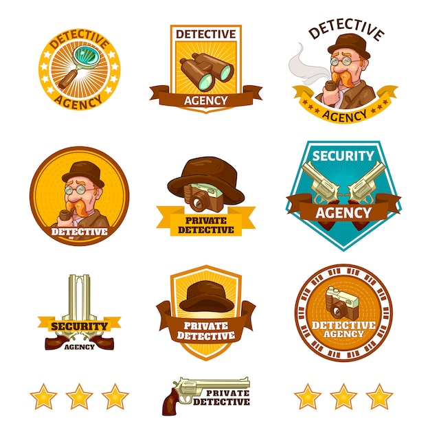 Detective agency emblems Free Vector