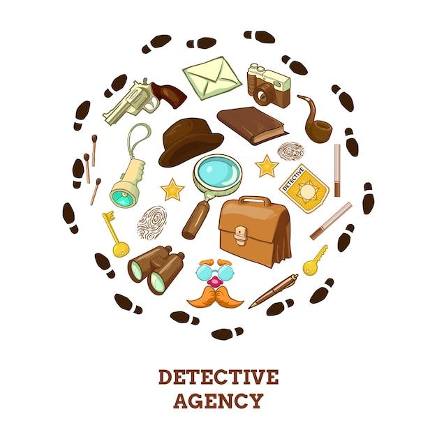 Composizione rotonda dell'agenzia investigativa Vettore gratuito