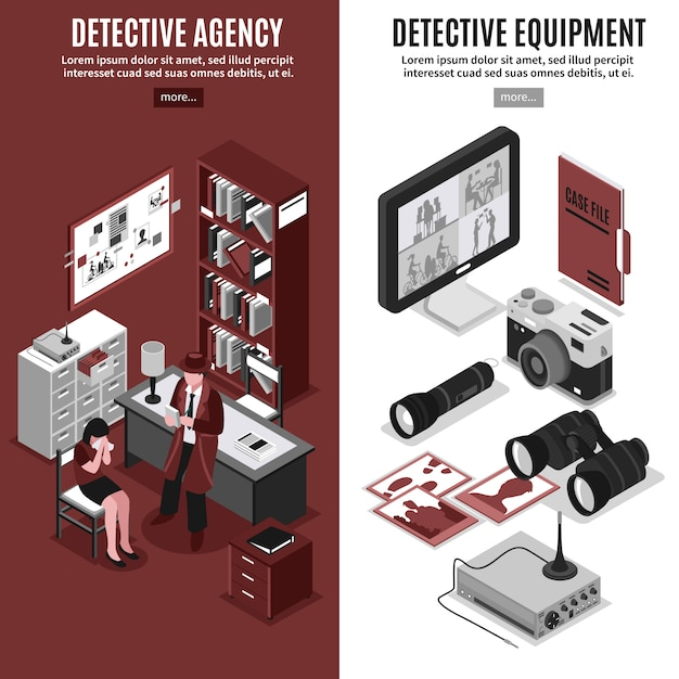Detective agency vertical banners Free Vector