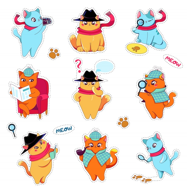 Detective cats stickers set in hat and scarf. Premium Vector